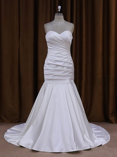Sweetheart Ivory Ruffles Taffeta with Button Trumpet/Mermaid Wedding Dresses #PWD00021916