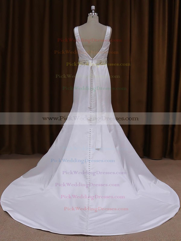 Scoop Neck White Satin Sashes/Ribbons Backless Trumpet/Mermaid Wedding Dresses #PWD00021917