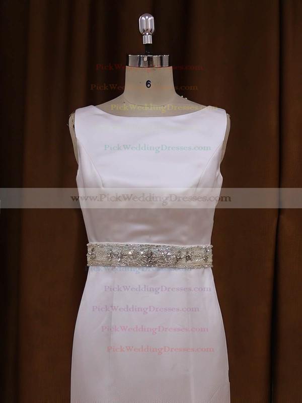 Scoop Neck White Satin Sashes/Ribbons Backless Trumpet/Mermaid Wedding Dresses #PWD00021917