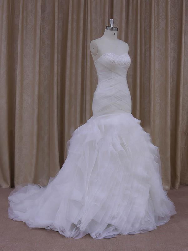Trumpet/Mermaid Modest Tulle Cascading Ruffles Sweetheart White Wedding Dress #PWD00021919