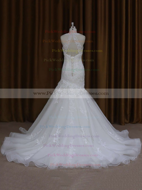 Trumpet/Mermaid Ivory Satin Tulle with Appliques Lace Sweetheart Wedding Dresses #PWD00021920