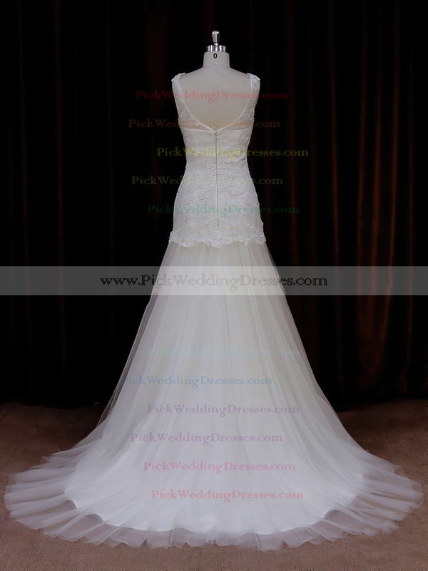 Ivory Trumpet/Mermaid Tulle Appliques Lace Sweep Train Wedding Dresses #PWD00021924