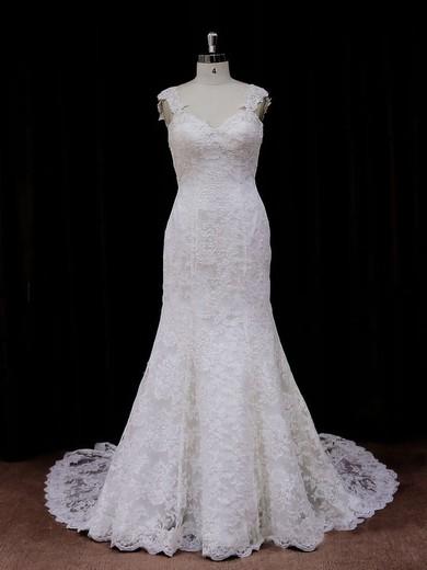 Chapel Train Ivory Lace Beading Trumpet/Mermaid Backless Wedding Dresses #PWD00021926
