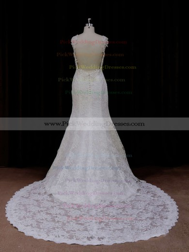 Chapel Train Ivory Lace Beading Trumpet/Mermaid Backless Wedding Dresses #PWD00021926