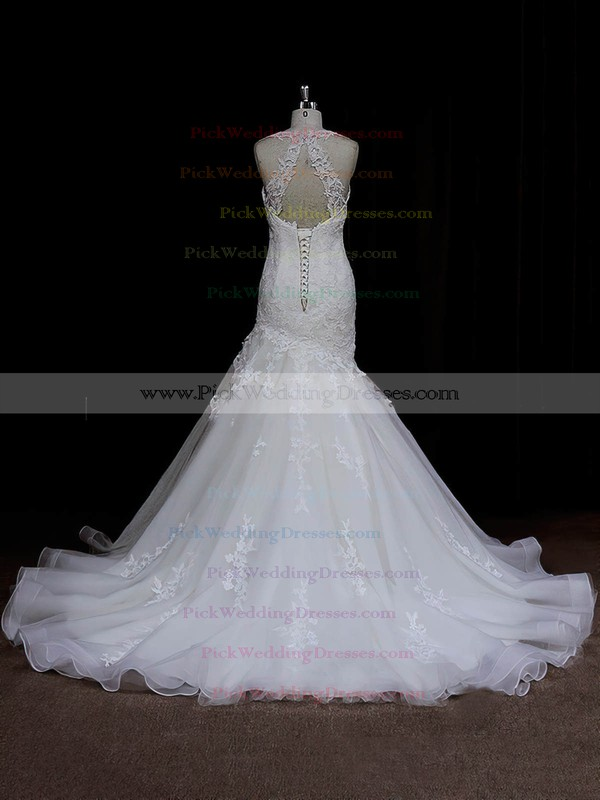 Vintage Sweetheart Ivory Satin Tulle Appliques Lace Trumpet/Mermaid Wedding Dresses #PWD00021935