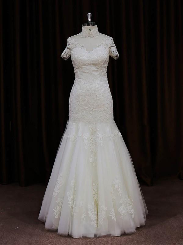 Ivory Trumpet/Mermaid Unique Tulle Appliques Lace High Neck Wedding Dresses #PWD00021939
