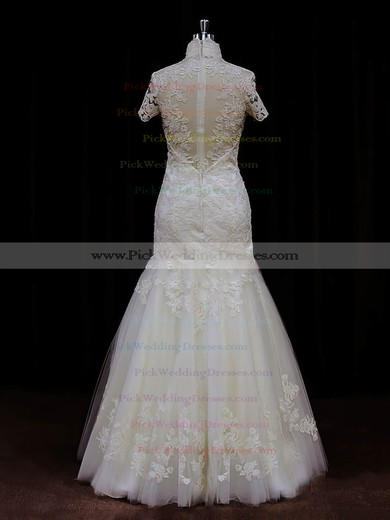 Ivory Trumpet/Mermaid Unique Tulle Appliques Lace High Neck Wedding Dresses #PWD00021939