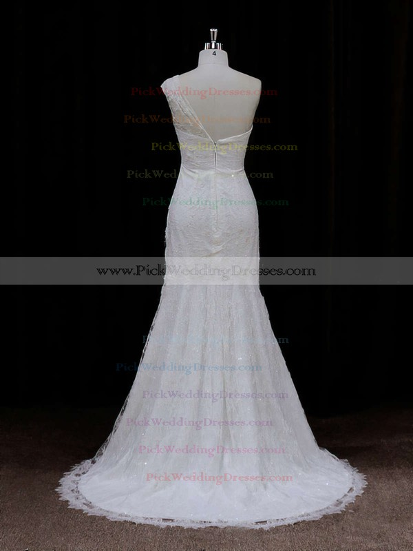 Modest Ivory One Shoulder Lace Sequins Trumpet/Mermaid Wedding Dresses #PWD00021940