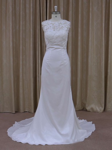 Lace Chiffon Covered Button Ivory Scoop Neck Modest Sheath/Column Wedding Dress #PWD00021942