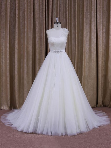 Elegant One Shoulder White Tulle Sashes/Ribbons Ball Gown Wedding Dress #PWD00021956
