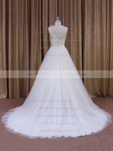 Elegant One Shoulder White Tulle Sashes/Ribbons Ball Gown Wedding Dress #PWD00021956