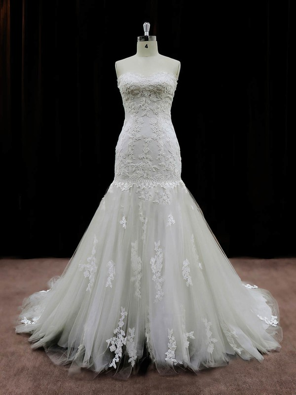 Best Ivory Tulle Appliques Lace Chapel Train Trumpet/Mermaid Wedding Dresses #PWD00021959