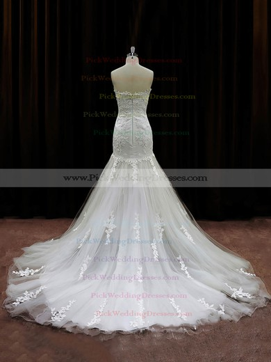 Best Ivory Tulle Appliques Lace Chapel Train Trumpet/Mermaid Wedding Dresses #PWD00021959