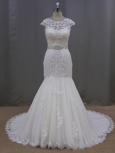 Scoop Neck Ivory Tulle with Appliques Lace Trumpet/Mermaid Cap Straps Wedding Dress #PWD00021962