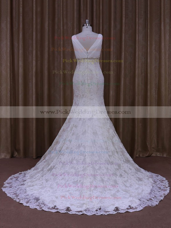 Trumpet/Mermaid V-neck Ivory Lace Tulle Appliques Lace Designer Wedding Dress #PWD00021964