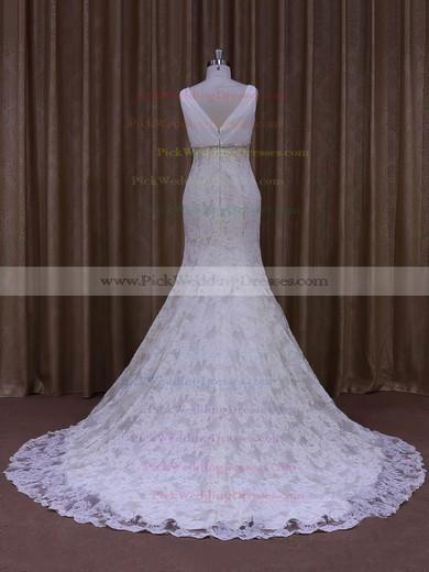 Trumpet/Mermaid V-neck Ivory Lace Tulle Appliques Lace Designer Wedding Dress #PWD00021964