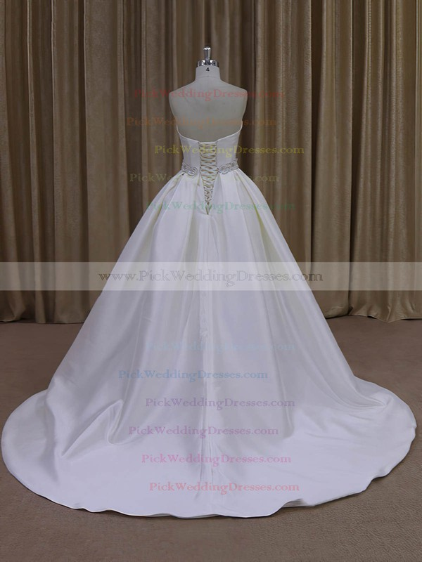 Classic Ivory Taffeta Sashes/Ribbons Sweetheart Ball Gown Wedding Dresses #PWD00021977