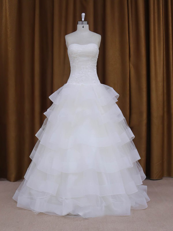 Floor-length Wholesale Tulle Appliques Lace Sweetheart White Wedding Dress #PWD00021980