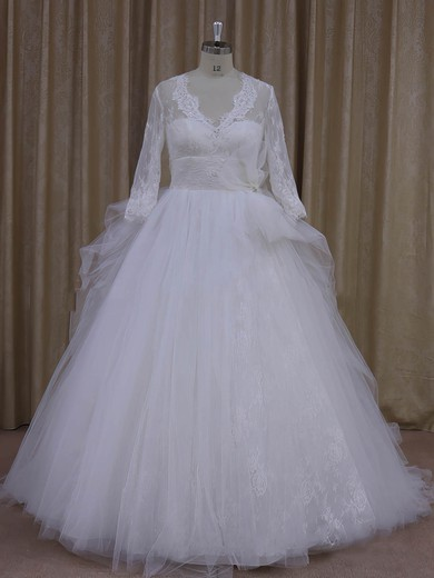 Ivory V-neck Tulle Appliques Lace Long Sleeve Ball Gown Wedding Dress #PWD00021982