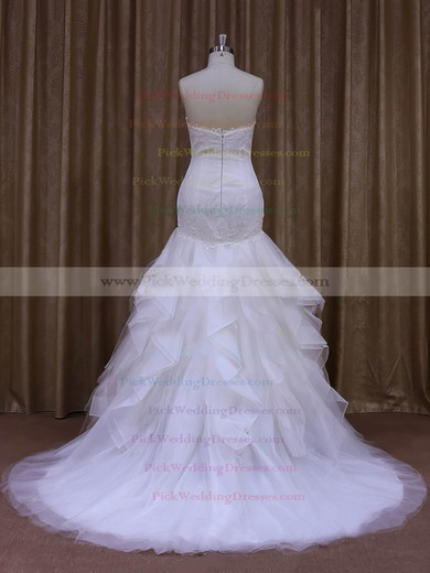 White Trumpet/Mermaid Tulle Appliques Lace Sweetheart Modern Wedding Dress #PWD00021987