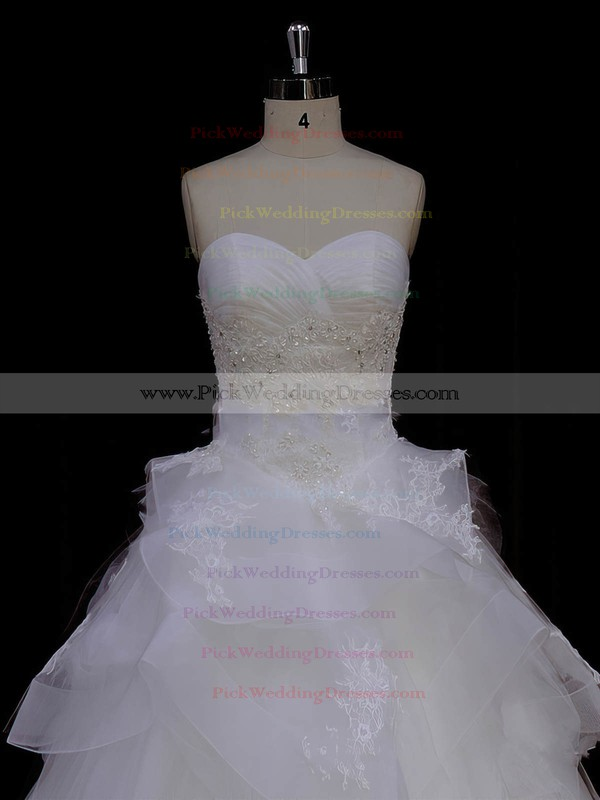 Ivory Tulle Princess Appliques Lace Sweetheart New Style Wedding Dresses #PWD00021988
