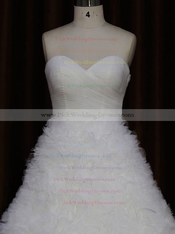 Ivory Sweetheart Ruffles Tulle Court Train New Arrival Wedding Dress #PWD00021989