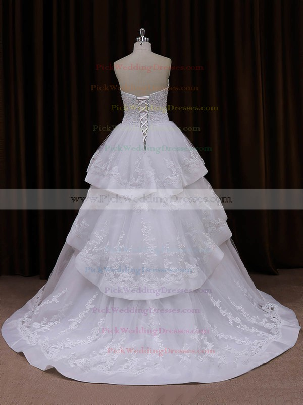Beautiful Princess Tulle Appliques Lace Sweetheart Ivory Wedding Dresses #PWD00021990