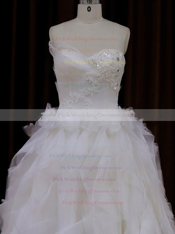 Sweetheart Tulle Appliques Lace Elegant Princess Ivory Wedding Dress #PWD00021991