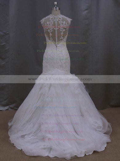 New Arrival Trumpet/Mermaid Tulle Appliques Lace Ivory Sweetheart Wedding Dress #PWD00021993