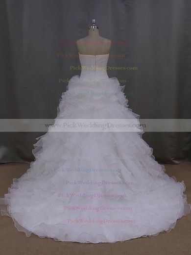 Court Train Ivory Tiered Organza New Arrival Strapless Wedding Dress #PWD00021994