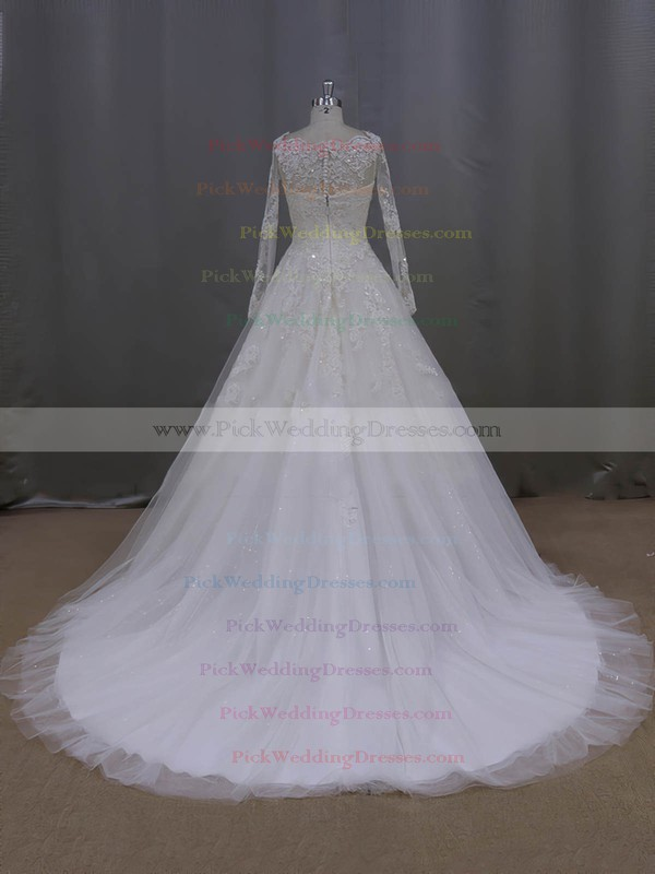 Scoop Neck Ivory Tulle Beading Long Sleeve Appliques Lace Wedding Dress #PWD00021996