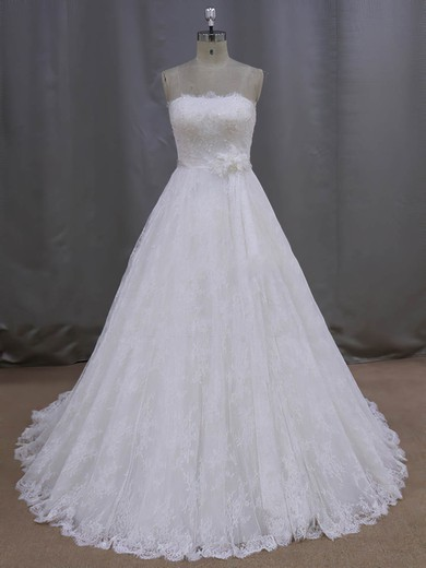 Ivory Strapless Lace Sashes / Ribbons Lace-up Court Train Wedding Dresses #PWD00021997