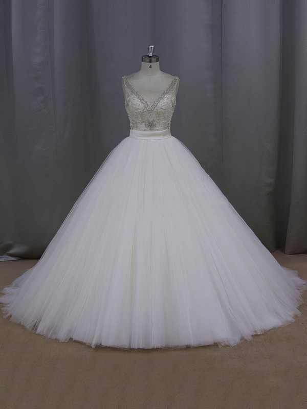 Ball Gown Ivory Tulle Sashes / Ribbons Open Back V-neck Wedding Dress #PWD00021998