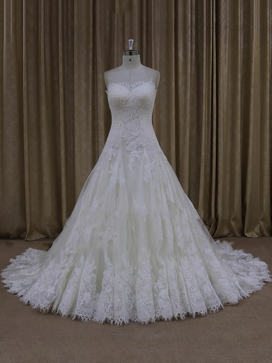 Ivory A-line Tulle Sweetheart Lace-up Appliques Lace Wedding Dress #PWD00022000