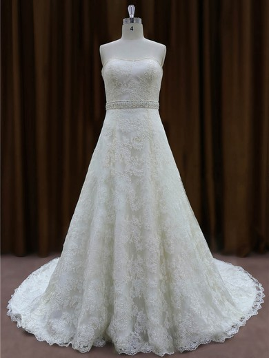Ivory Lace Chapel Train Beading Sweetheart Classic Wedding Dress #PWD00022002