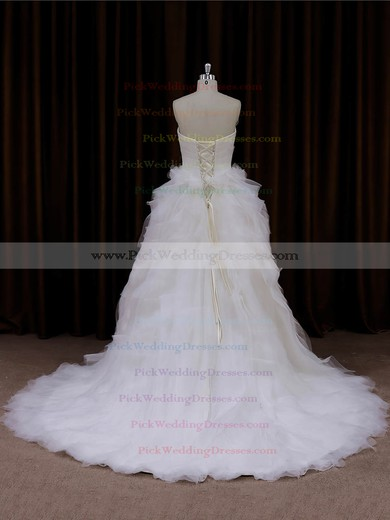 Princess Tulle Cascading Ruffles Ivory Lace-up Sweetheart Wedding Dresses #PWD00022003
