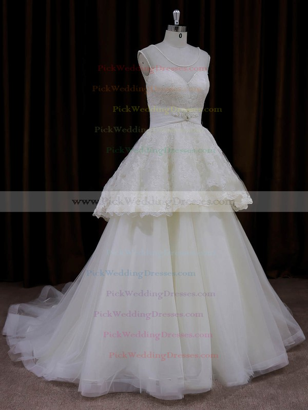 Cheap Scoop Neck Ivory Lace Tulle Beading Princess Wedding Dress #PWD00022004