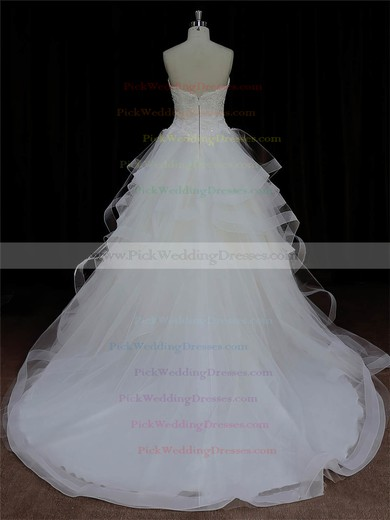 Ivory Tulle Appliques Lace Sweetheart Ball Gown Discount Wedding Dresses #PWD00022005