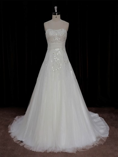 A-line Crystal Detailing Ivory Lace Tulle Court Train Beautiful Wedding Dress #PWD00022006