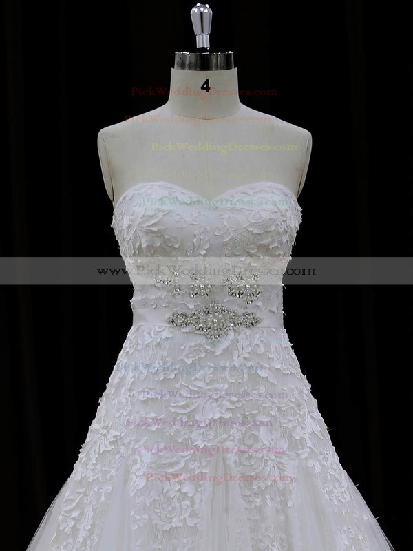 Sweetheart Lace-up Ivory Lace Tulle Appliques Lace Chapel Train Wedding Dresses #PWD00022007