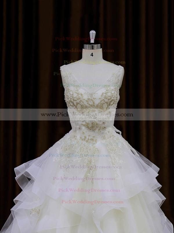 V-neck Ivory Organza Lace-up Appliques Lace Princess Wedding Dresses #PWD00022009