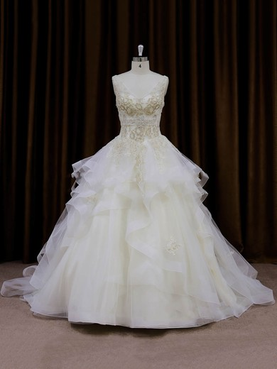 V-neck Ivory Organza Lace-up Appliques Lace Princess Wedding Dresses #PWD00022009