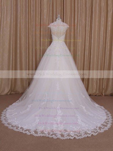 Sweetheart Ivory Tulle Cap Straps Appliques Lace Court Train Wedding Dress #PWD00022010
