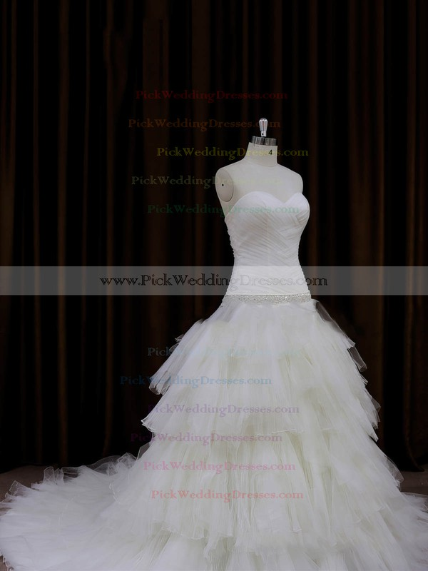 Princess Tulle Tiered Lace-up Chapel Train Ivory Wedding Dresses #PWD00022011