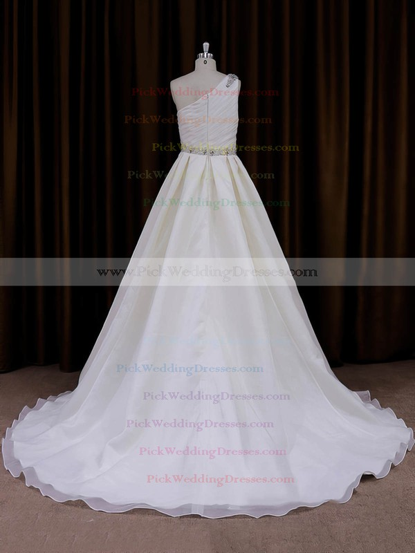 One Shoulder Beading Ivory Organza Sweep Train Fashion Wedding Dress #PWD00022012