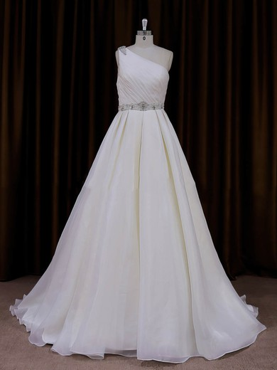 One Shoulder Beading Ivory Organza Sweep Train Fashion Wedding Dress #PWD00022012