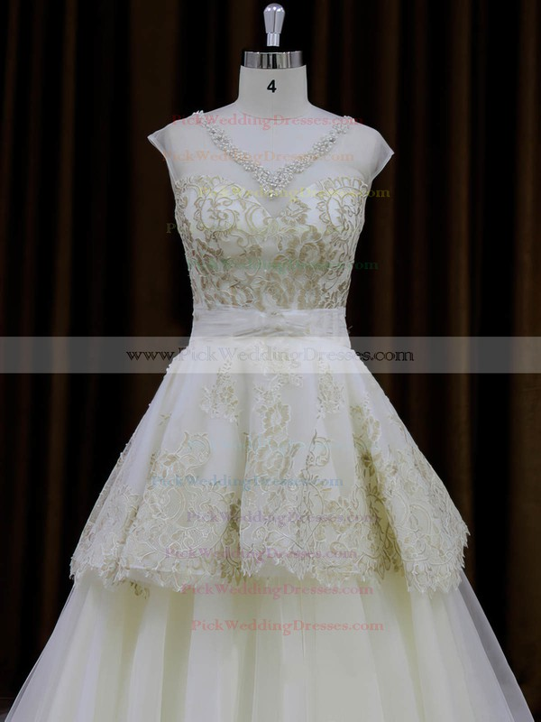 Ivory Tulle Princess Appliques Lace V-neck New Wedding Dresses #PWD00022013