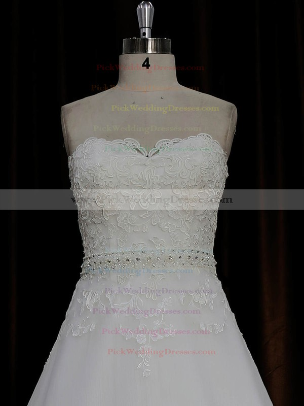 A-line Ivory Tulle Satin Appliques Lace Sweetheart Affordable Wedding Dresses #PWD00022015