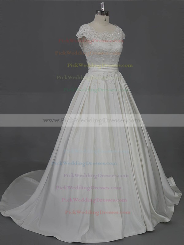 Scoop Neck Appliques Lace Cap Straps Ivory Taffeta Court Train Wedding Dress #PWD00022016