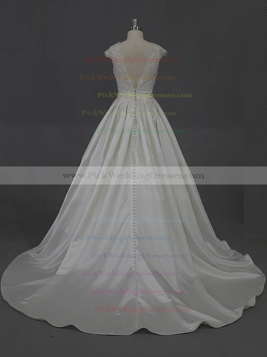 Scoop Neck Appliques Lace Cap Straps Ivory Taffeta Court Train Wedding Dress #PWD00022016